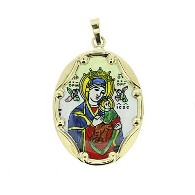 14kt GOLD Religious Pendant, Our Lady of Perpetual Help