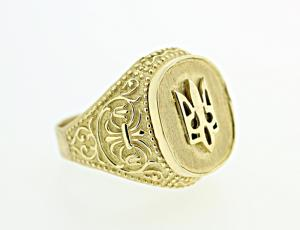 RI_UK-TR_0045 - 14kt Gold Tryzub Bevel Ring