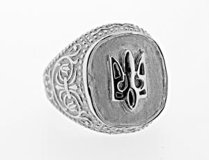RI_UK-TR_0045 - Sterling Silver Tryzub Bevel Ring