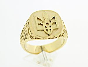 RI_UK-TR_0105_G - 14kt Gold Square Tryzub Ring