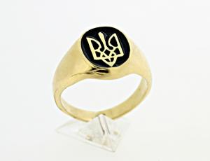 RI_UK-TR_0106E - 14kt Gold Tryzub Black Inlay Ring