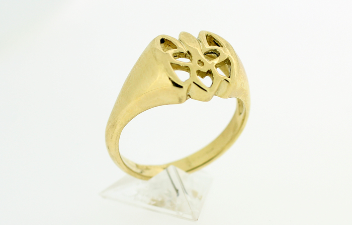 Gold Round Tryzub Ring Golden Lion Jewelry