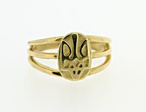 RI_UK-TR_0138 - 14kt Gold Oval Tryzub Ring