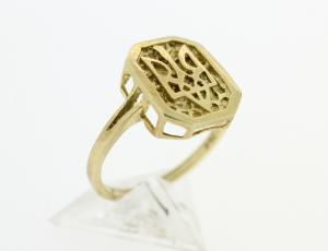 RI_UK-TR_0147 - 14kt Gold Framed Tryzub Ring