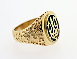 RI_UK-TR_0217-G - 14kt Gold Tryzub Ring Blue