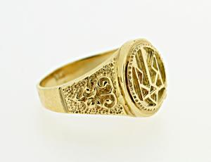 RI_UK-TR_0257_G - 14kt Gold Sunburst Tryzub Ring