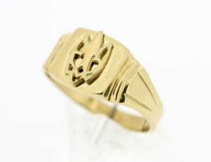 RI_UK-TR_0258_G - 14kt Gold Squared Tryzub Ring