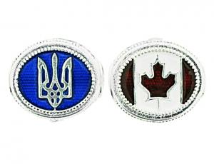BR_ET-BE_UC_R Canadian Flag and Ukrainian Trident Eternity Bead