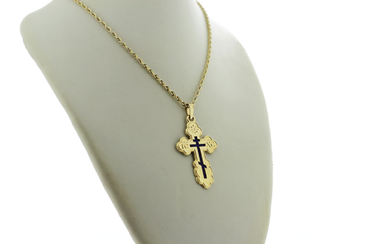 Gold St Olga Cross M Golden Lion Jewelry