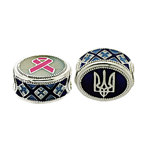 Cancer Awareness and Ukrainian Tryzub Pandora-Style Eternity Bead