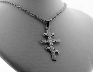 Silver Saint Andrew Heart Cross (Medium)