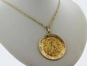Gold Our Lady of Perpetual Help Coin Pendant