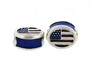 American Flag Sterling Silver Eternity Bead