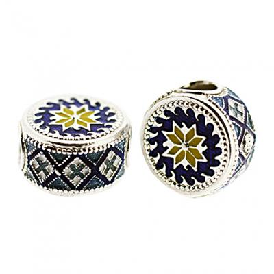 DR_BL_S-72 - Ukrainian Rushnyk Pandora-Style Eternity Bead