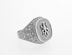 Silver Tryzub Bevel Ring