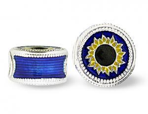 SU_BL-S-72 - Blue Sunflower Pandora-Style Eternity Bead