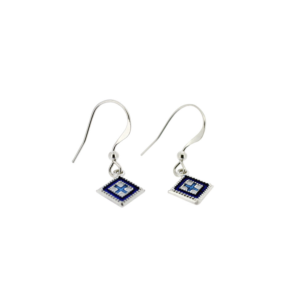Silver Square Rushnyk Ukrainian Earrings
