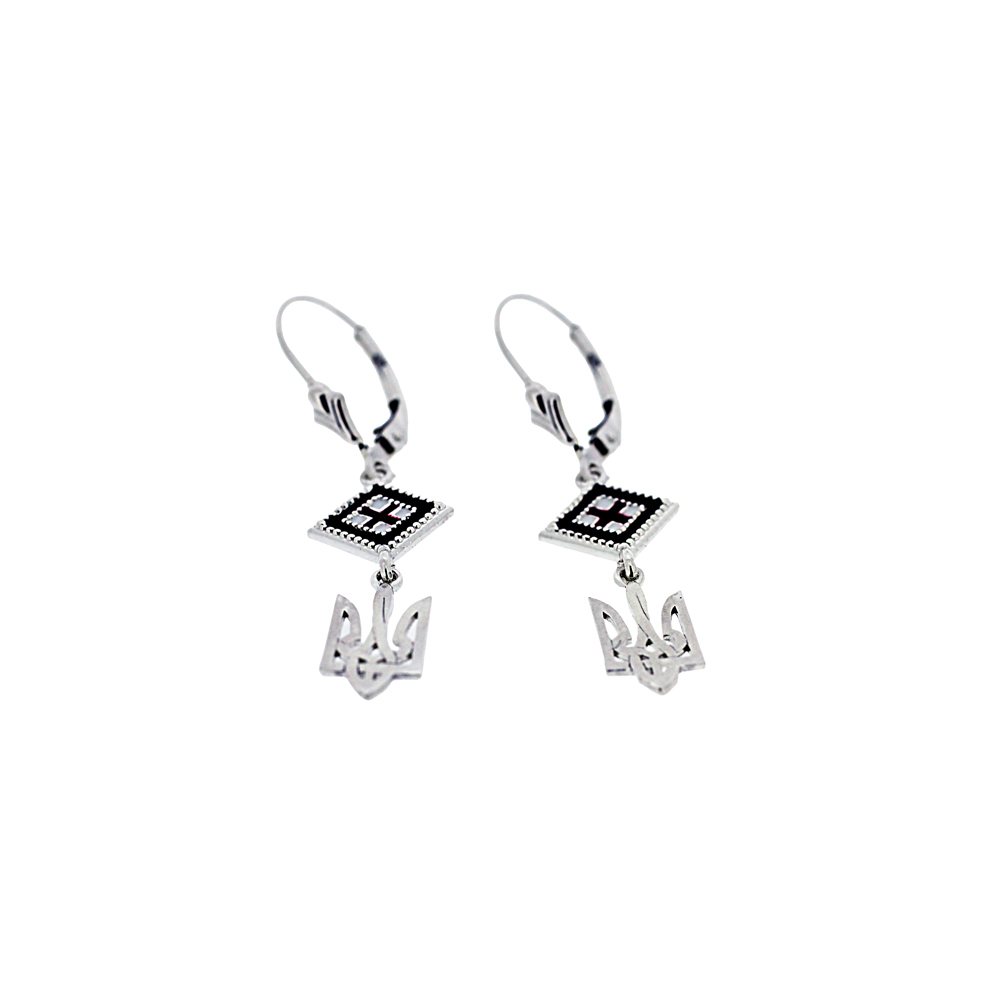 Silver Ukrainian Tryzub and Square Rushnyk Earrings