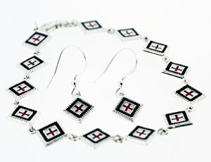 Silver Square Rushnyk Bracelet and Earring Set