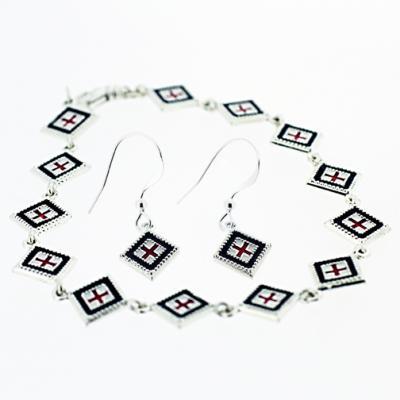 Silver Square Rushnyk Bracelet and Earring Set
