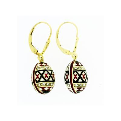 EA_EG_UK-PY-HO - Gold and Silver Pysanka Faberge-style Earrings