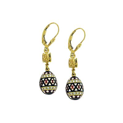 EA_EG_UK-PY-HO-TR - Gold and Silver Pysanka Faberge-style Earrings