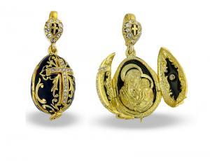 PE_EG_RE_R302K_BK - Religious Faberge-Style Egg Pendant