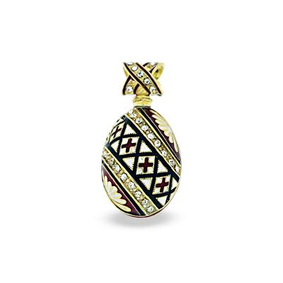 PE_EG_UK-PY-DI-CR_BK-RE - Ukrainian Pysanka Faberge-Style Egg Pendant