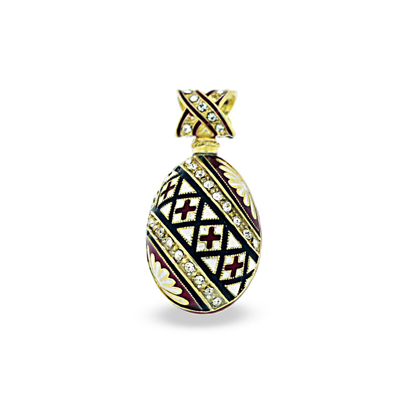 PE_EG_UK-PY-DI-CR_BK-RE - Ukrainian Pysanka Faberge-Style Egg Pendant