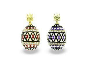 PE_EG_UK-PY-HO-TR - Ukrainian Pysanka Faberge-Style Egg Pendant