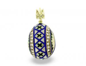 PE-EG_UK-PY-V_BL-RE - Ukrainian Faberge Egg Pysanka Pendant