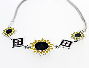 BR_UK-RU_002 - Silver Square Rushnyk and Sunflower Pendant