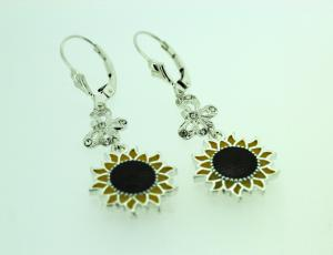 Sterling Sunflower Earrings