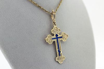 NE_PE_RE-CR_2501-G-front - Gold Orthodox Cross Pendant Blue