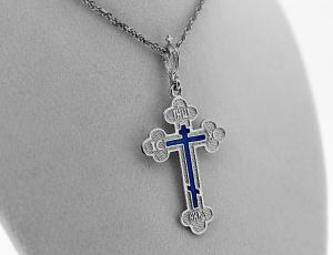 NE_PE_RE-CR_2501-S-Front - Silver Orthodox Cross Pendant