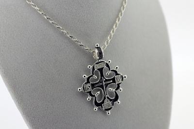 NE_PE_RE-CR_2502-S Sterling Silver Orthodox Pendant