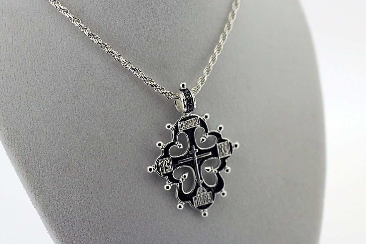 NE_PE_RE-CR_2502-S Sterling Silver Orthodox Pendant