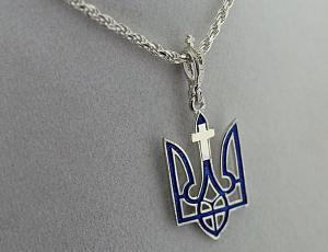 NE_PE_UK-TR_2002-S - Sterling Silver Christian Cross with Ukrainian Tryzub Pendant