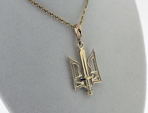 NE_PE_UK-TR_2003-1 Gold Ukrainian Sword and Tryzub Pendant