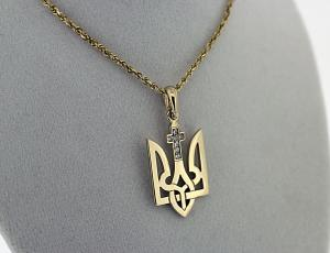 Gold Tryzub Pendant with Catholic Cross and Diamonds