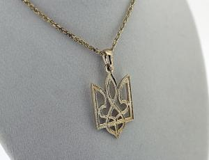 NE_PE_UK-TR_2005-G - Gold Tryzub Pendant from Golden Lion Jewelry