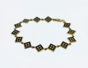 Gold Square Rushnyk Bracelet from Golden Lion Jewelry