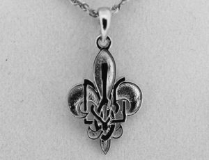 Sterling Silver Plast Fleur-de-lis Pendant