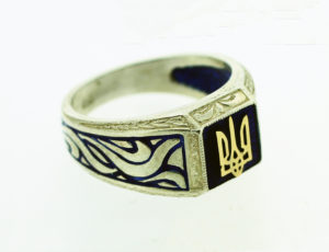 Ukrainian Fiery Tryzub Ring