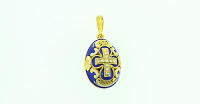 Dark Blue Egg with Cross Pendant in 14kt Gold Plate