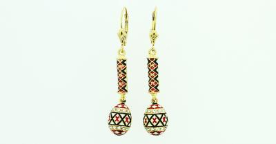 Small Red Pysanka (Egg) and Bar Earrings in Gold Plate