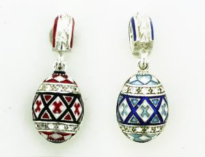 Blue and Red Sterling Silver Dangling Pysanka Eternity Beads
