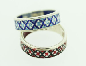 ST3 - Sterling Silver Red and Blue Ukrainian Heritage Ring