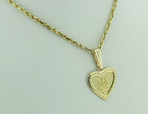 TR_0286 - Small Gold Tryzub in Heart Pendant