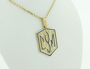 TR_0067 - Gold CYM Plaque Pendant with Blue Accent
